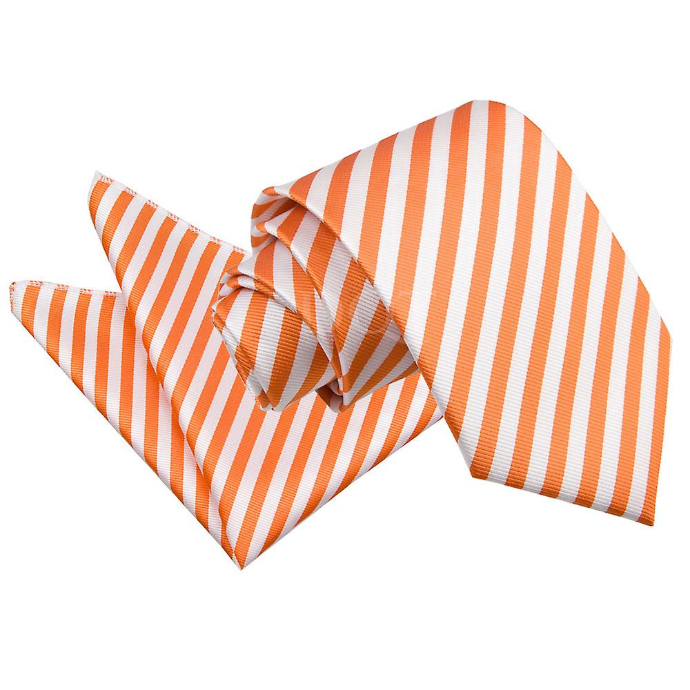Thin Stripe White & Orange Tie 2 pc. Set