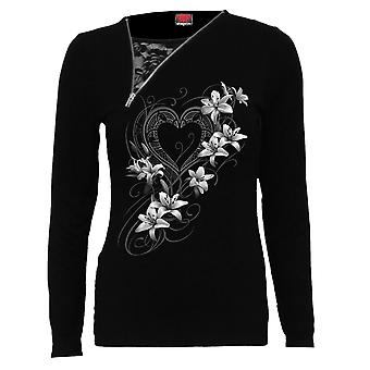 Spiral Direct Gothic PURE OF HEART - 2in1 Slant Zip Neck Lace Top|Fashion|Heart|Roses|Oriental