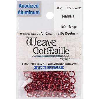 Anodized Aluminum Jumprings 3.5mm 100/Pkg-Red HPA18A35-MRSLA