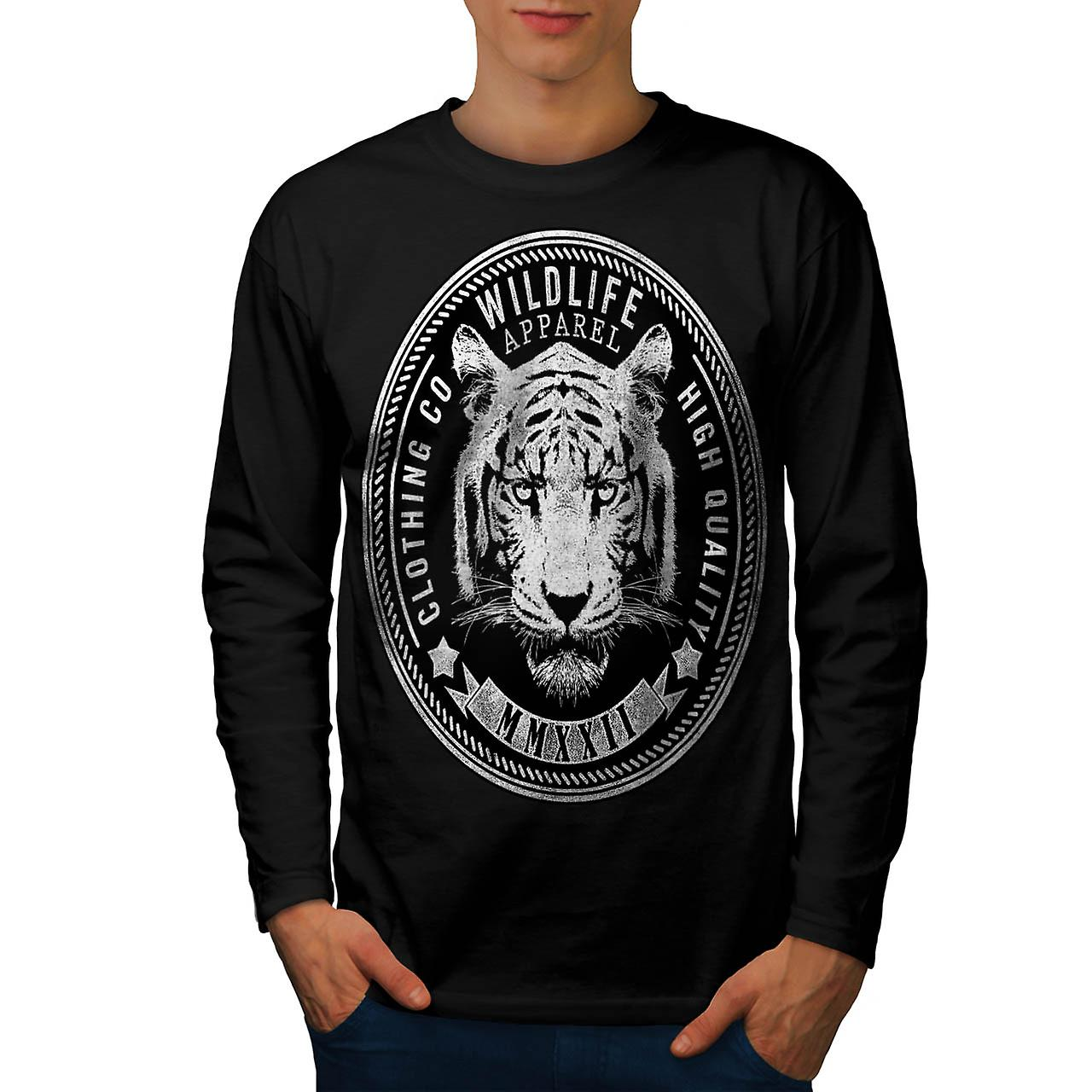 Wildlife Apparel USA Tiger Face Men Black Long Sleeve T-shirt | Wellcoda