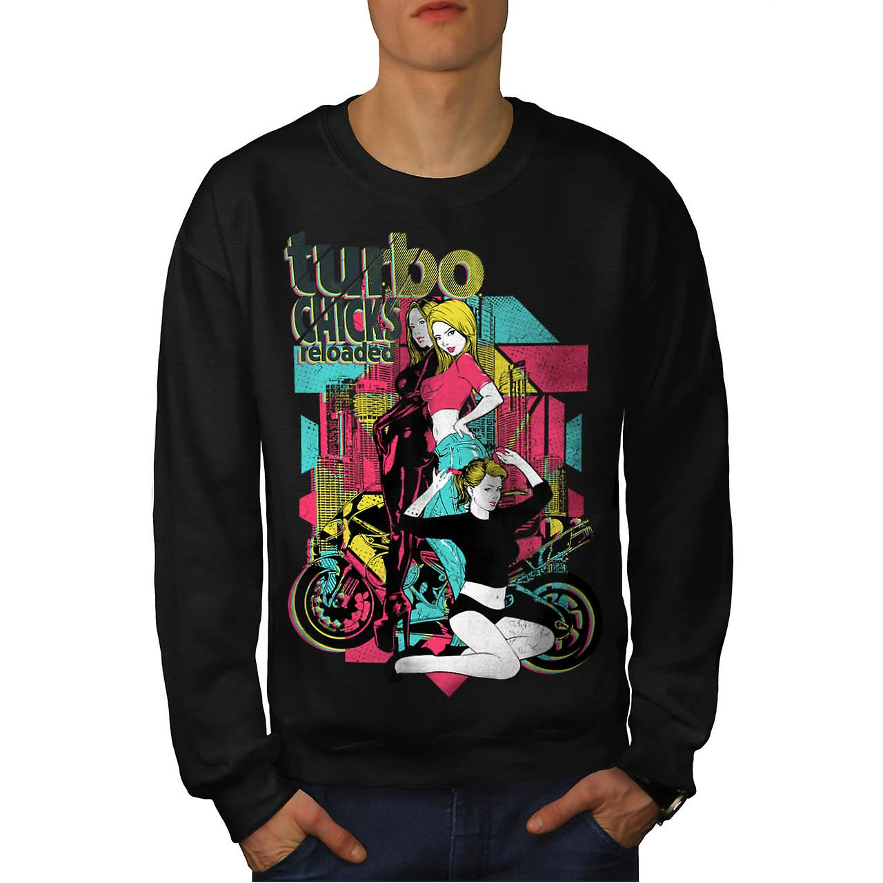 Turbo Chicks Cool Biker Men Black Sweatshirt | Wellcoda