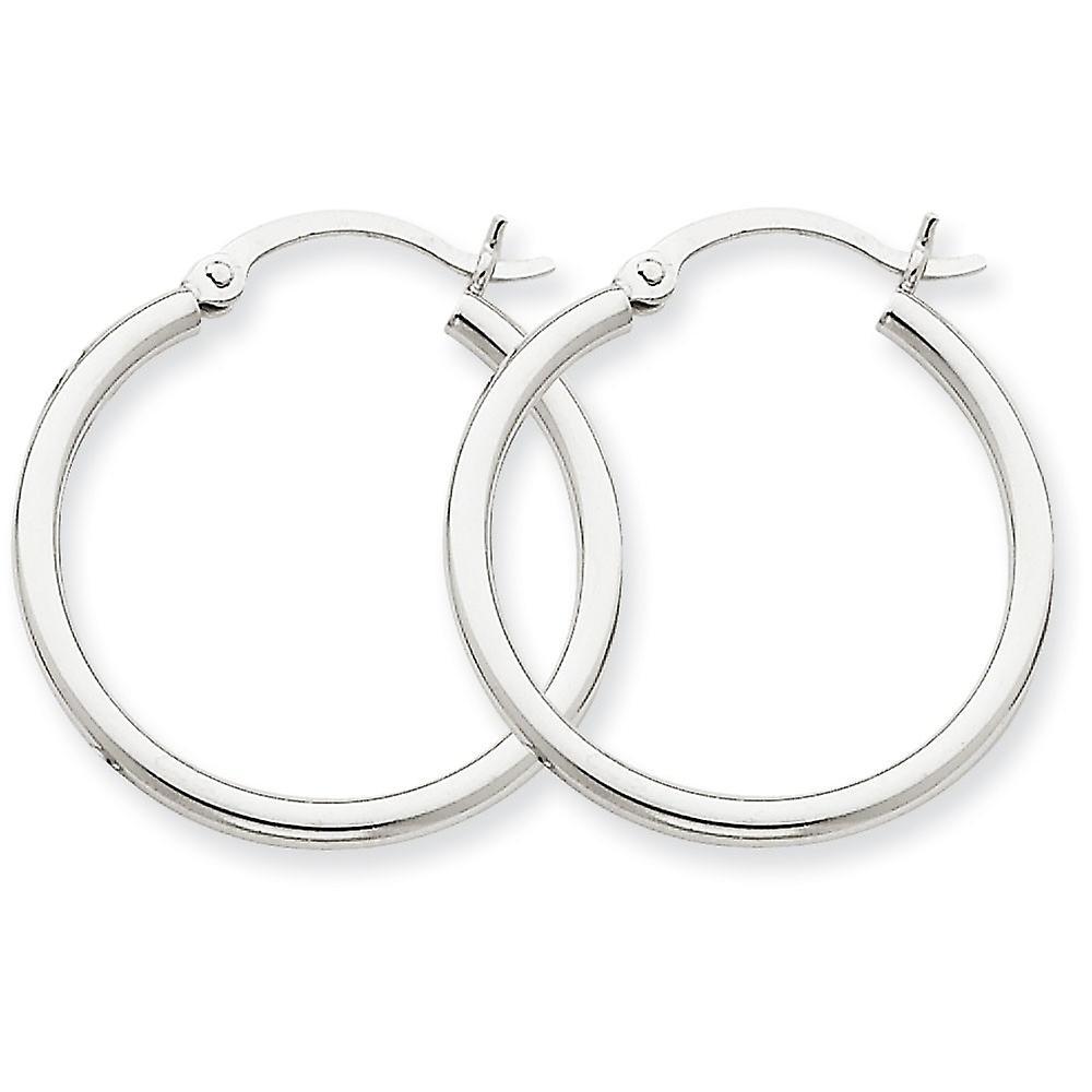 14k blanc or Polished 2mm Round Hoop Earrings - 1.5 Grams