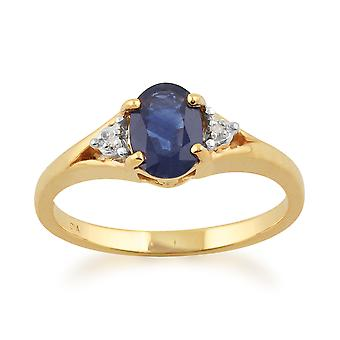 9ct Yellow Gold 1.00ct Kanchanaburi Sapphire & Diamond Single Stone Ring