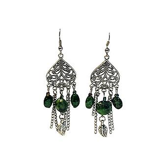 Long vintage bohemian statement earrings with color accent (multiple colors)