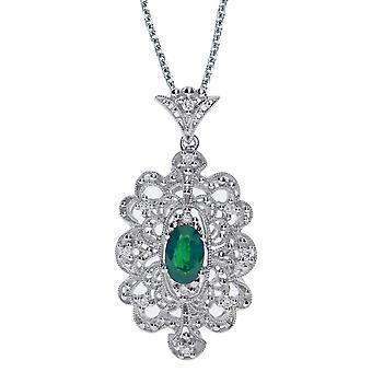 14k White Gold Emerald and .10 ct Diamond Pendant with 18