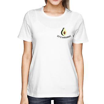Let's Avocuddle Pocket Print Women's White Shirt Back To School