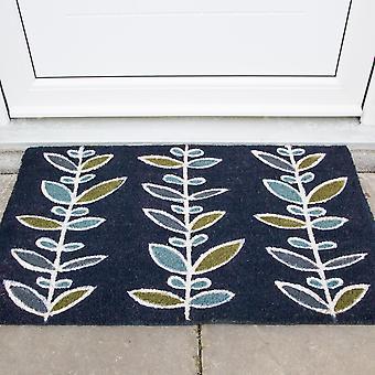 Indigo Blue Floral Coir Doormat 45x75cm