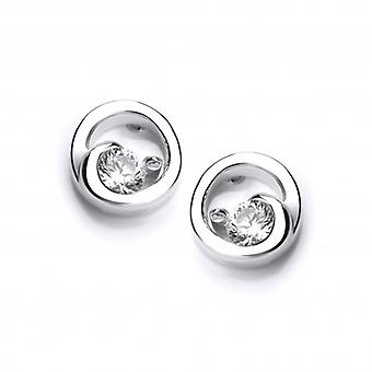 Cavendish French Silver and Cubic Zirconia Circle Earrings