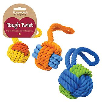Tough Twist Rubber & Rope Ball Tug 23.5cm (Pack of 3)