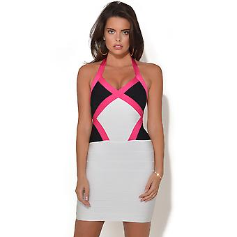Deep Neck Pink Trim Bandage Dress