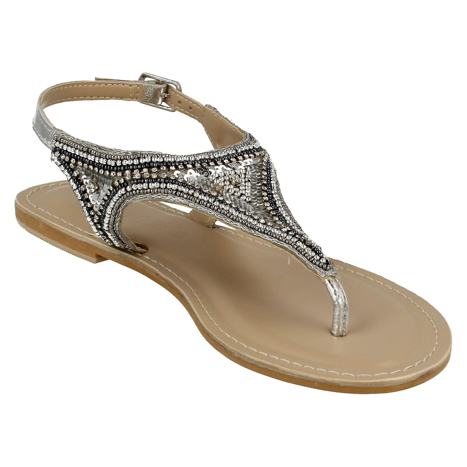 Ladies Leather Collection Flat Toepost Beaded & Sequined Vamp Sandal