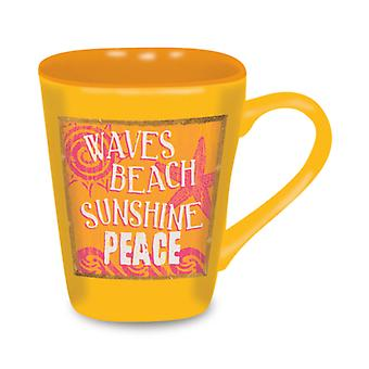 Strand teken golven Sunshine vrede zonnige gele 15 Ounce Koffie Latte liefde mok