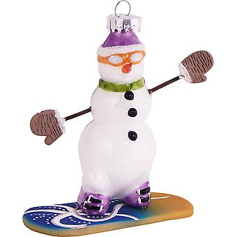 Snowboarding Snowman With Orange Goggles Christmas Holiday Ornament Glass
