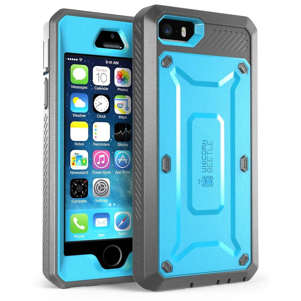 Supcase-iPhone 5S- Unicorn BeetlePro with Built-in Screen-Blue/Black