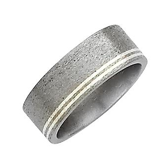 Mens 8mm Titanium Wedding Band with Sterling Silver Inlay