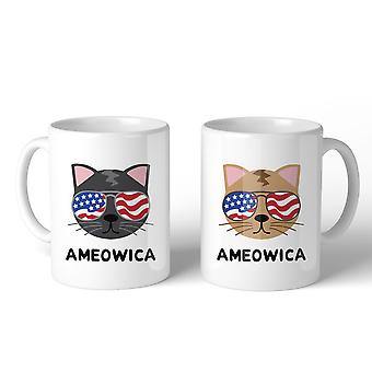 Ameowica 11oz Funny 4th Of July Decorative Gift Mug For Cat Lovers