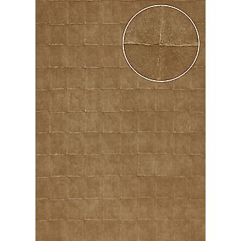 Stone tiles wallpaper Atlas IN the 0805-2 structure wallpaper embossed with geometric shapes and metallic effect bronze pale brown olive-brown 7,035 m2