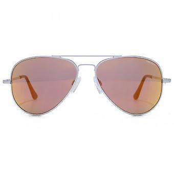 Randolph Engineering Concorde Aviator Sonnenbrille im Matt Chrom Orange Flash