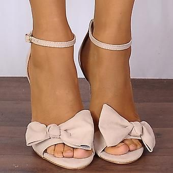 Shoe Closet Ladies Becki-1 Nude Bows Barely There Strappy Sandals High Heels