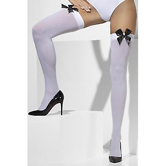 Hold up stockings white thigh with bow black