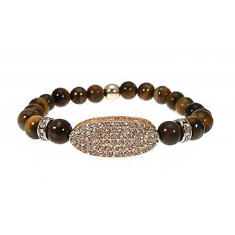 W.A.T Stretchy Tigers Eye Bead And Crystal Bracelet