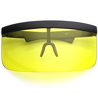 Futuristische Oversize Schild Visor Sonnenbrillen mit Flat Top farbige Mono Linse 172mm