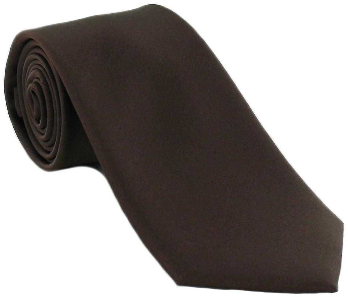 Michelsons of London Plain Silk Tie - Dark Brown