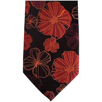 Knightsbridge Neckwear Kensington Floral Silk Tie - Black/Red