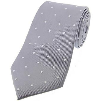 David Van Hagen Polka Dot Silk Tie - Grey/White
