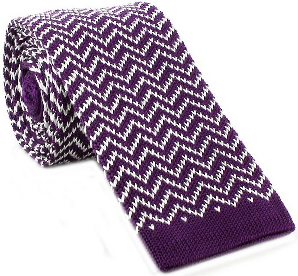 Michelsons of London Zig Zag Silk Knitted Skinny Tie - Purple/White