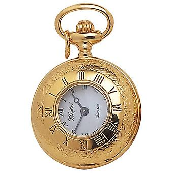 Woodford Gold Plated Half Hunter Quartz Pendant Watch - Gold