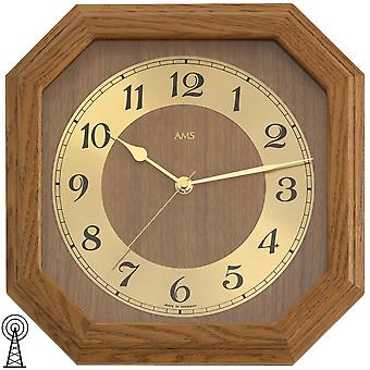 Radio controlled wall clock clock radio clock square wood oak rustic gold AMS 26 x 26 cm
