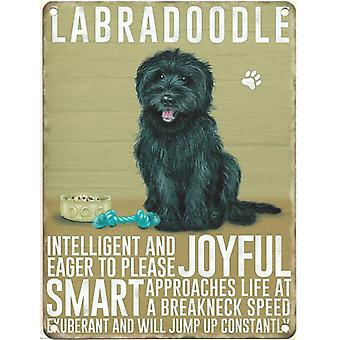 Large Wall Plaque 400mm x 300mm - Black Labradoodle