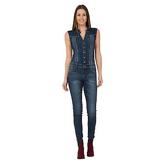 Womens Slim Fit Denim Jumpsuit Button Front Playsuit with stretch
