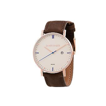James Beard Belize ivory Chayenne wrist watch mens suede Brown