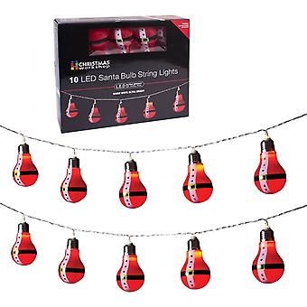 Christmas Workshop Battery Operated 10 LED Santa Retro Bulb Shaped String Lights, Plastic, Red,