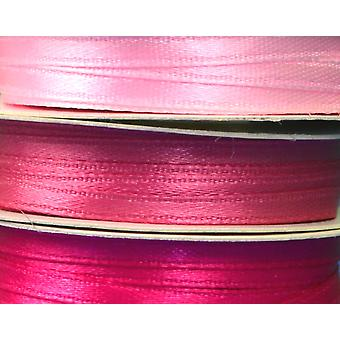 3mm Co-Ordinating Satin Ribbon Set for Crafts - 3 Pack - Pinks