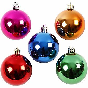 20 Bright Coloured 6cm Christmas Baubles to Decorate