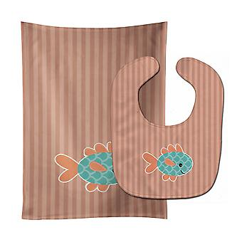 Carolines Treasures  BB7118STBU Fish Baby Bib & Burp Cloth