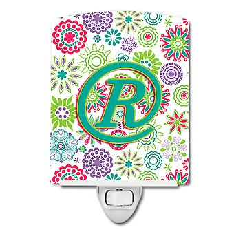 Letter R Flowers Pink Teal Green Initial Ceramic Night Light