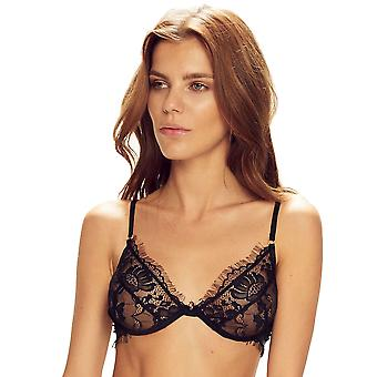 Confidante Women's Forever Young Black Lace Non-Padded Underwired Plunge Bra