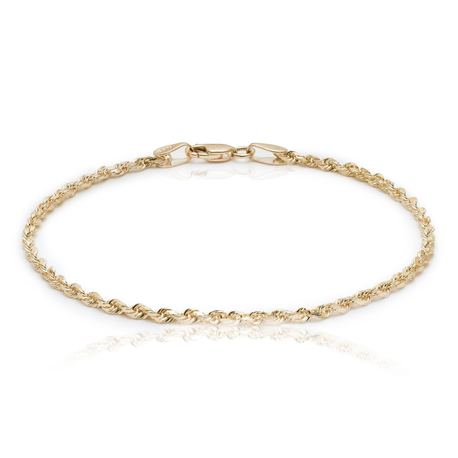 10k coupe diahommet solide or jaune Bracelet chaînee en corde et chaîne de cheville, 2,25 mm (0,09& 034;)