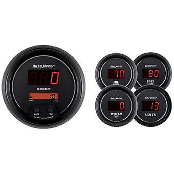 Auto Meter 6300 Sport Comp Digital 5 pc. Kit Box with Programmable Electric Speedometer and Electric Oil Pressure Water