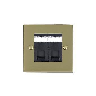 Hamilton Litestat Cheriton Victorian Satin Brass 2g RJ45 CAT5E Unshielded BL