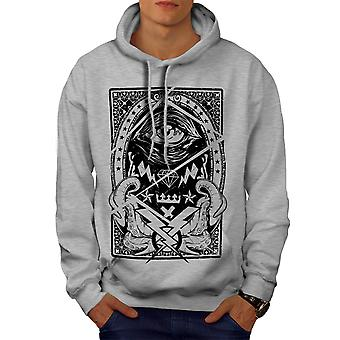 Triangle Horror Vintage Men GreyHoodie | Wellcoda