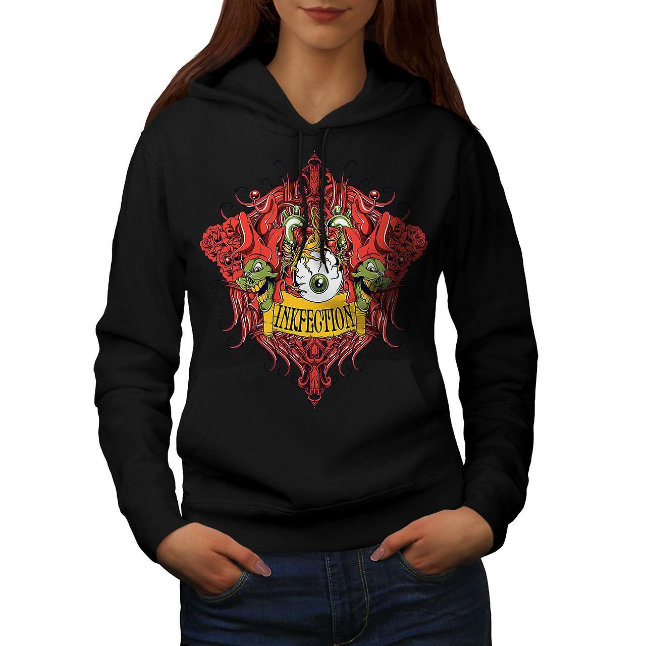 Zombie Monster Vintage Women BlackHoodie | Wellcoda