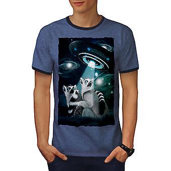 Mars Lemur Being Men Heather Blue / NavyRinger T-shirt | Wellcoda