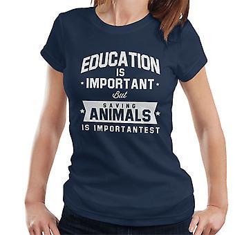 Onderwijs Is belangrijk maar het opslaan van dieren Is Importantest Women's T-Shirt