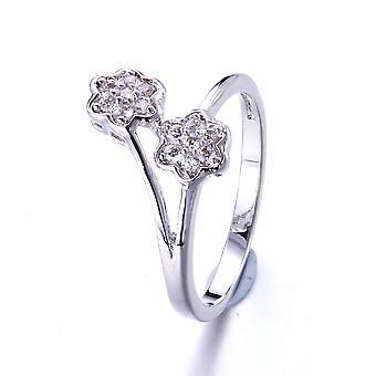 Ring Swarovski Kristallelementen weiße Blume und Rhodium - T54