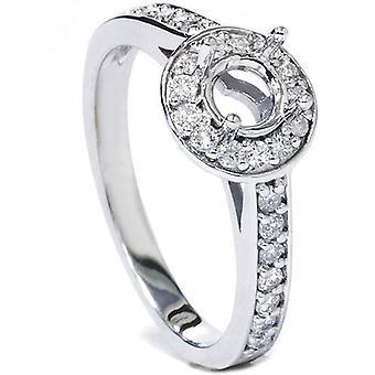 1 / 3ct Halo Diamant Verlobungsring Einstellung 14K White Gold Semi Mount